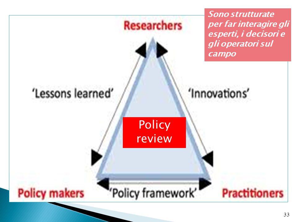 33 Policy review Sono strutturate per far interagire gli esperti, i decisori e gli operatori sul campo