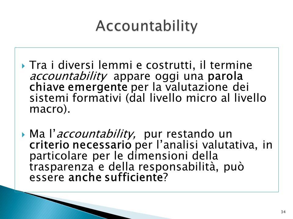  Tra i diversi lemmi e costrutti, il termine accountability appare oggi una parola chiave emergente per la valutazione dei sistemi formativi (dal liv