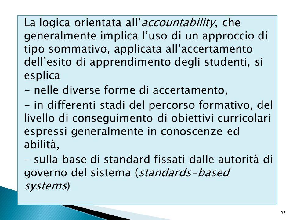 La logica orientata all'accountability, che generalmente implica l'uso di un approccio di tipo sommativo, applicata all'accertamento dell'esito di app