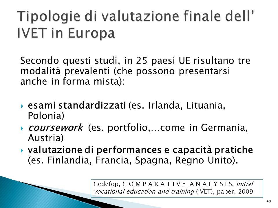 Secondo questi studi, in 25 paesi UE risultano tre modalità prevalenti (che possono presentarsi anche in forma mista):  esami standardizzati (es. Irl