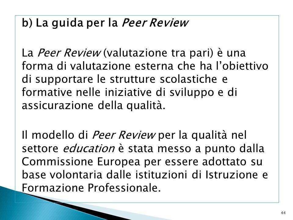 b) La guida per la Peer Review La Peer Review (valutazione tra pari) è una forma di valutazione esterna che ha l'obiettivo di supportare le strutture