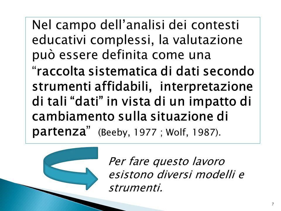 """Nel campo dell'analisi dei contesti educativi complessi, la valutazione può essere definita come una """"raccolta sistematica di dati secondo strumenti a"""
