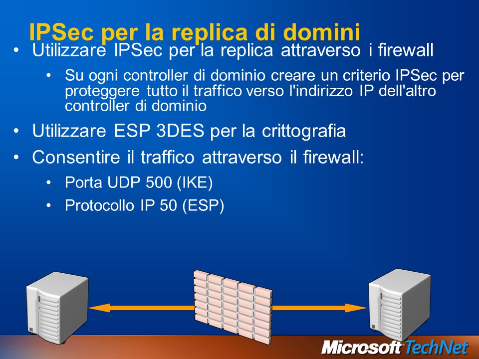IPSec per la replica di domini Utilizzare IPSec per la replica attraverso i firewall Su ogni controller di dominio creare un criterio IPSec per proteg