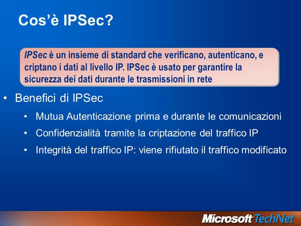 Cos'è IPSec? IPSec è un insieme di standard che verificano, autenticano, e criptano i dati al livello IP. IPSec è usato per garantire la sicurezza dei