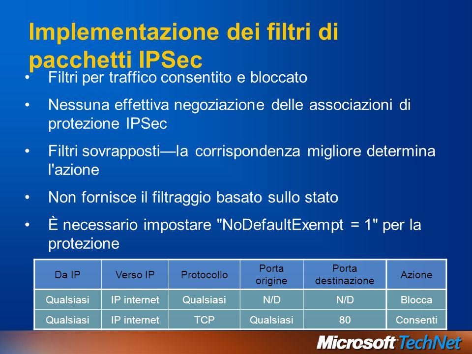Filtri per traffico consentito e bloccato Nessuna effettiva negoziazione delle associazioni di protezione IPSec Filtri sovrapposti—la corrispondenza m