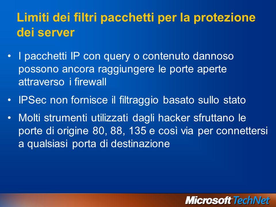 I pacchetti IP con query o contenuto dannoso possono ancora raggiungere le porte aperte attraverso i firewall IPSec non fornisce il filtraggio basato
