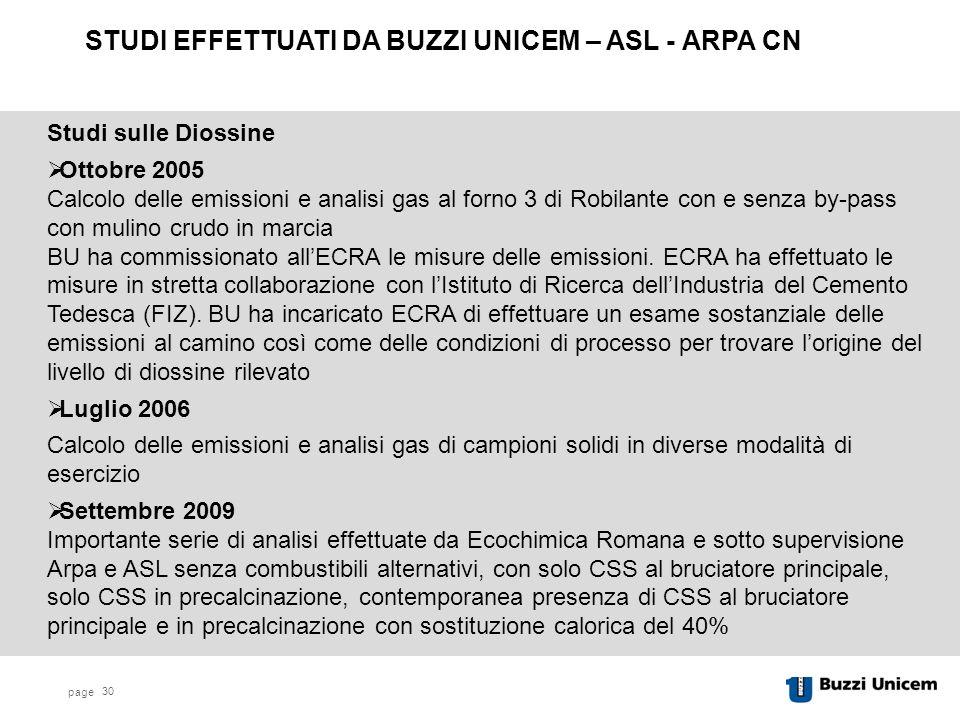page 30 Studi sulle Diossine  Ottobre 2005 Calcolo delle emissioni e analisi gas al forno 3 di Robilante con e senza by-pass con mulino crudo in marcia BU ha commissionato all'ECRA le misure delle emissioni.