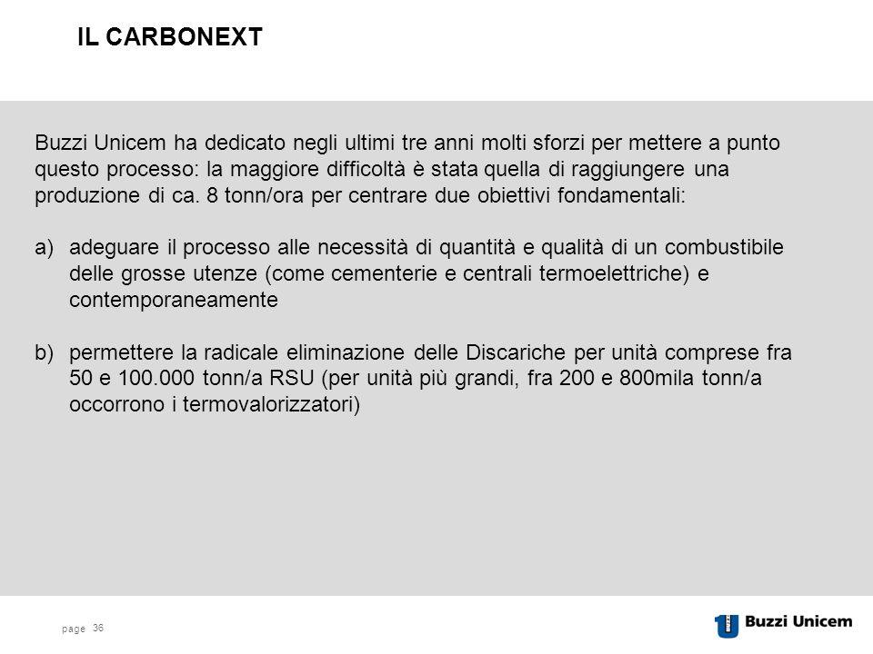 page 36 Buzzi Unicem ha dedicato negli ultimi tre anni molti sforzi per mettere a punto questo processo: la maggiore difficoltà è stata quella di raggiungere una produzione di ca.