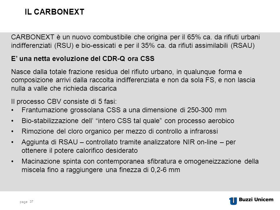 page 37 CARBONEXT è un nuovo combustibile che origina per il 65% ca.