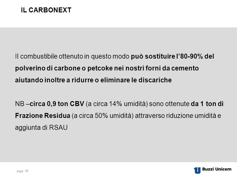 page 38 Il combustibile ottenuto in questo modo può sostituire l'80-90% del polverino di carbone o petcoke nei nostri forni da cemento aiutando inoltre a ridurre o eliminare le discariche NB –circa 0,9 ton CBV (a circa 14% umidità) sono ottenute da 1 ton di Frazione Residua (a circa 50% umidità) attraverso riduzione umidità e aggiunta di RSAU IL CARBONEXT