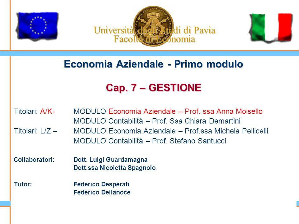Università degli Studi di Pavia Facoltà di Economia Economia Aziendale - Primo modulo Cap. 7 – GESTIONE Titolari: A/K-MODULO Economia Aziendale – Prof