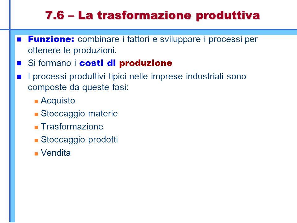 7.6 – La trasformazione produttiva Funzione: combinare i fattori e sviluppare i processi per ottenere le produzioni. Si formano i costi di produzione