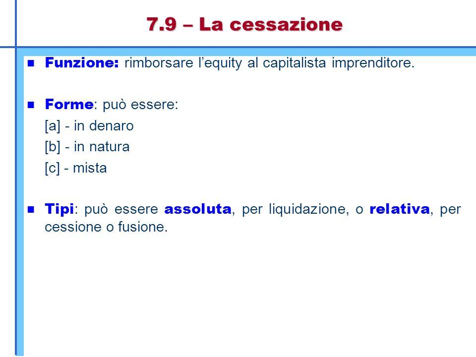 7.9 – La cessazione Funzione: rimborsare l'equity al capitalista imprenditore. Forme : può essere: [a] - in denaro [b] - in natura [c] - mista Tipi :