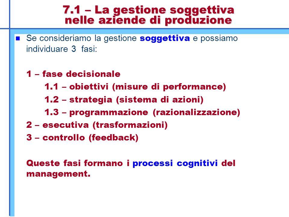 7.1 – La gestione soggettiva nelle aziende di produzione Se consideriamo la gestione soggettiva e possiamo individuare 3 fasi: 1 – fase decisionale 1.