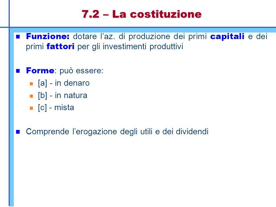 Figura 7.3 -I flussi connessi alle operazioni di costituzione