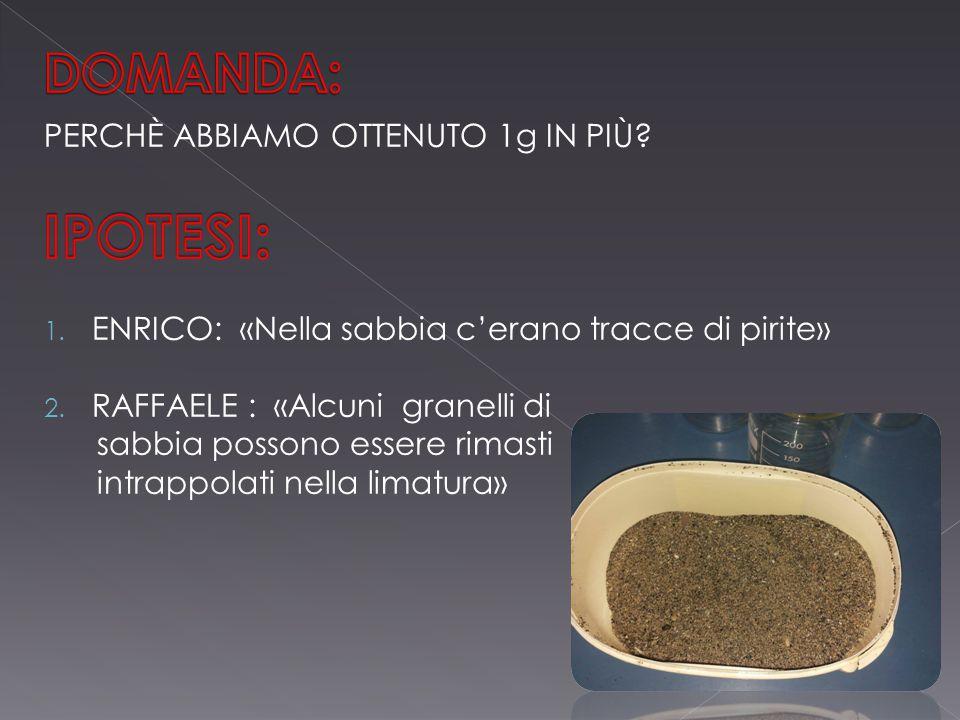 Componenti: 5g di sabbia 5g di sabbia 5g di limatura di ferro 5g di limatura di ferro 5g di sale: cloruro di sodio (NaCl) 5g di sale: cloruro di sodio (NaCl)Procedimento: Preparare un miscuglio di sale, sabbia e Preparare un miscuglio di sale, sabbia e limatura in un becher Aggiungere acqua distillata Aggiungere acqua distillata Sistemare un filtro in un imbuto e appoggiare Sistemare un filtro in un imbuto e appoggiare l'imbuto sul becher; versare il miscuglio