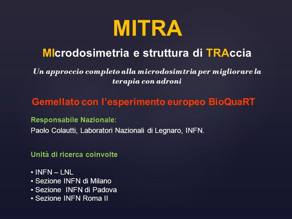 MITRA MIcrodosimetria e struttura di TRAccia Un approccio completo alla microdosimtria per migliorare la terapia con adroni Gemellato con l'esperiment