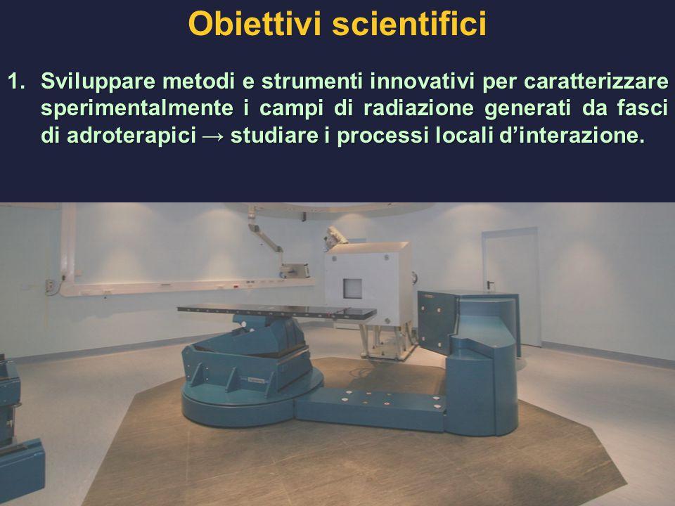 Obiettivi scientifici 1.Sviluppare metodi e strumenti innovativi per caratterizzare sperimentalmente i campi di radiazione generati da fasci di adroterapici → studiare i processi locali d'interazione.