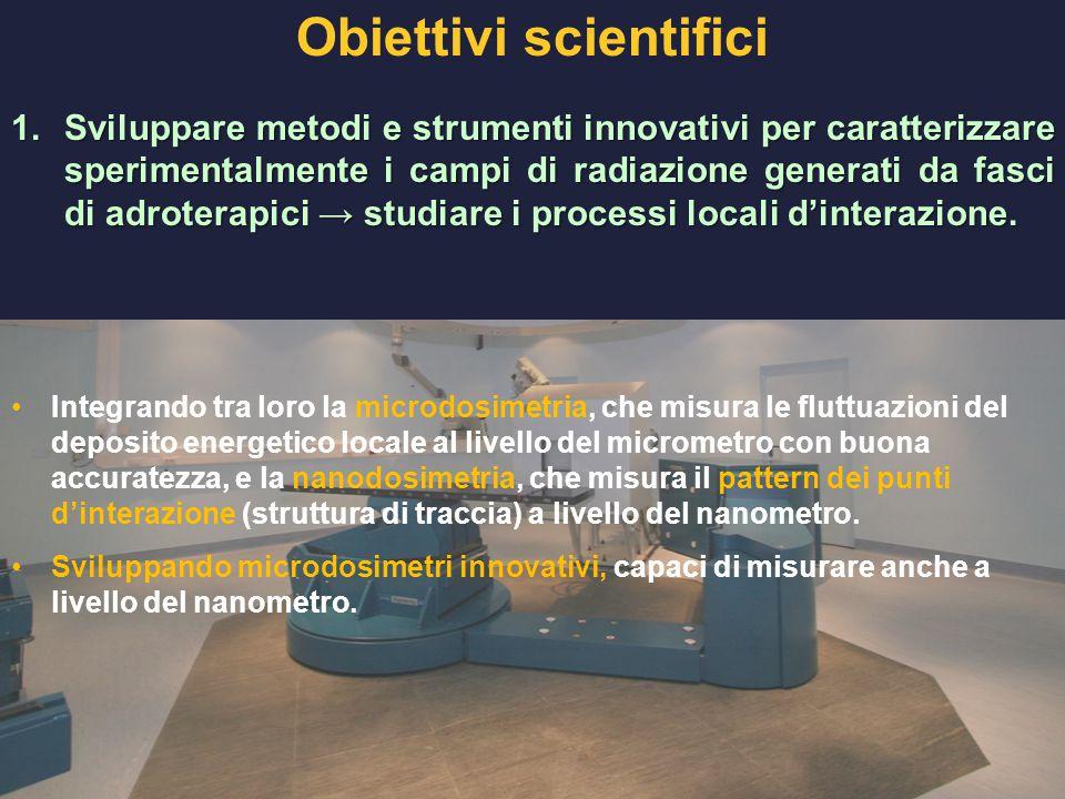 Obiettivi scientifici 1.Sviluppare metodi e strumenti innovativi per caratterizzare sperimentalmente i campi di radiazione generati da fasci di adrote