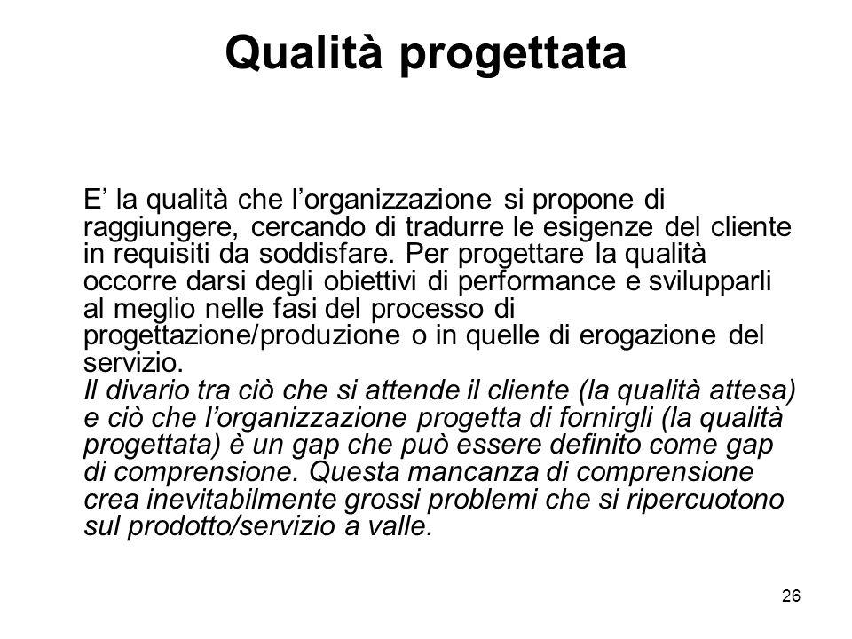 26 Qualità progettata E' la qualità che l'organizzazione si propone di raggiungere, cercando di tradurre le esigenze del cliente in requisiti da soddisfare.