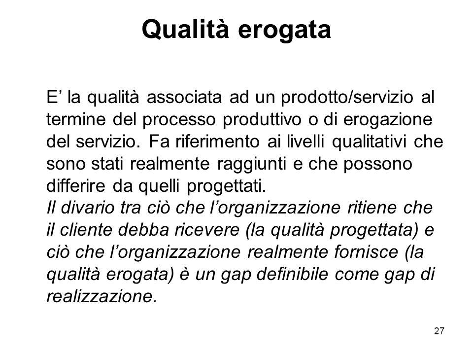 27 Qualità erogata E' la qualità associata ad un prodotto/servizio al termine del processo produttivo o di erogazione del servizio.