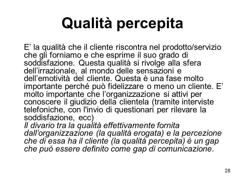 29 Qualità paragonata E' la qualità che il cliente confronta riferendosi ad esperienze precedenti, al mercato e, soprattutto, alla concorrenza.