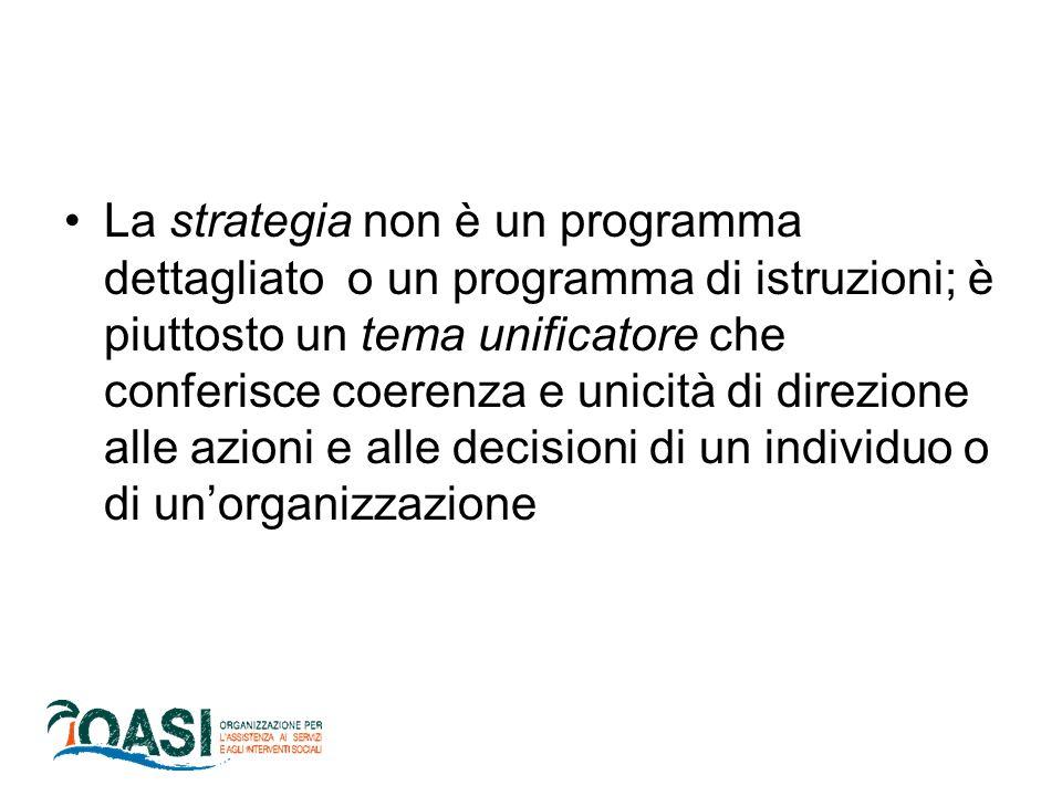 La strategia non è un programma dettagliato o un programma di istruzioni; è piuttosto un tema unificatore che conferisce coerenza e unicità di direzione alle azioni e alle decisioni di un individuo o di un'organizzazione