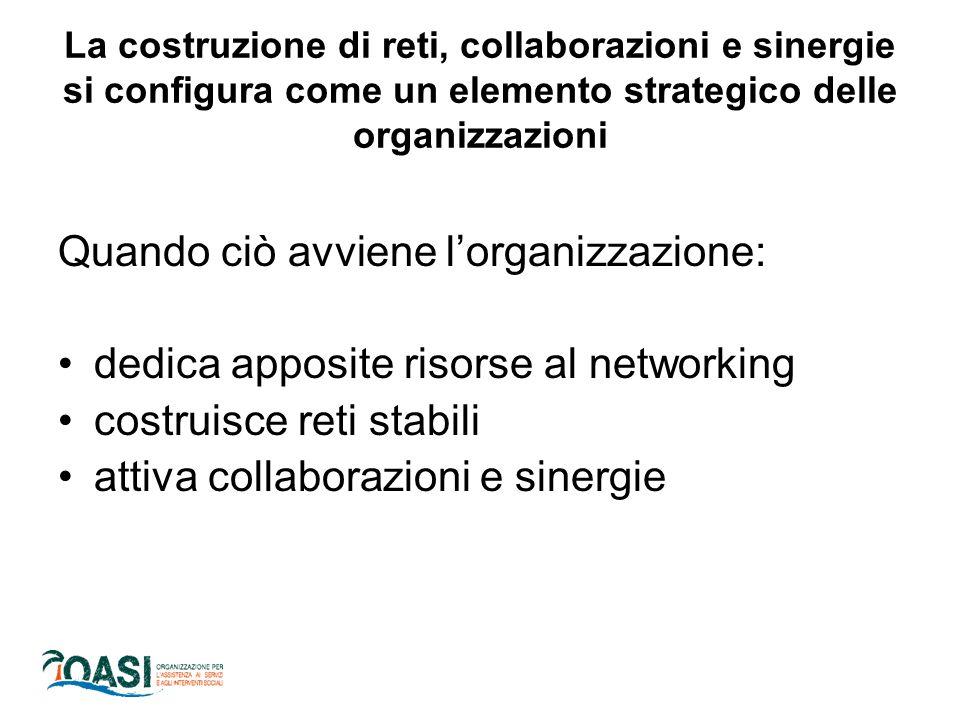 La costruzione di reti, collaborazioni e sinergie si configura come un elemento strategico delle organizzazioni Quando ciò avviene l'organizzazione: dedica apposite risorse al networking costruisce reti stabili attiva collaborazioni e sinergie