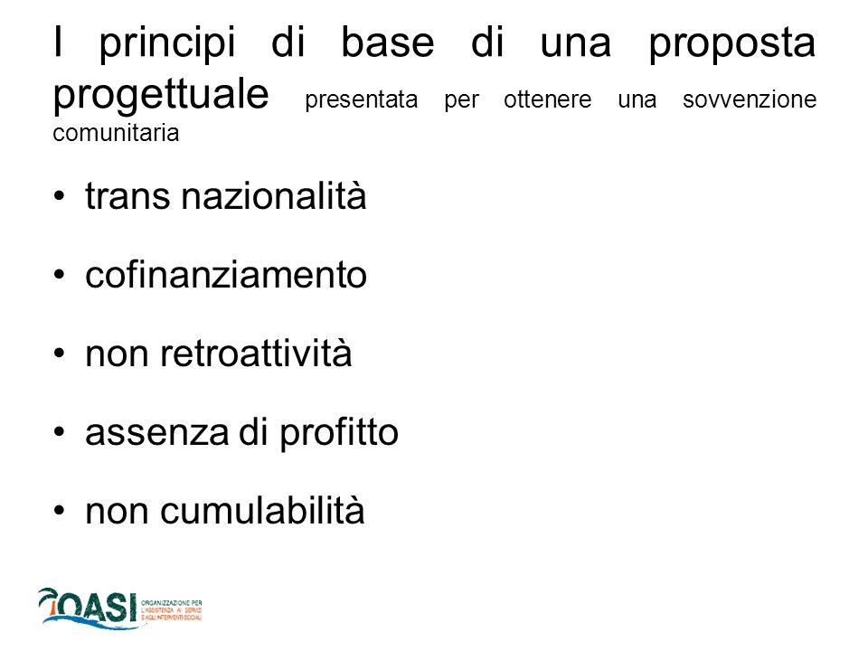 I principi di base di una proposta progettuale presentata per ottenere una sovvenzione comunitaria trans nazionalità cofinanziamento non retroattività assenza di profitto non cumulabilità
