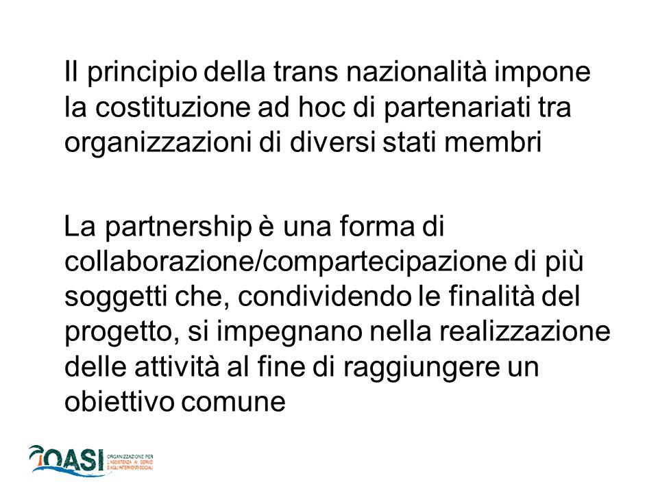 Il principio della trans nazionalità impone la costituzione ad hoc di partenariati tra organizzazioni di diversi stati membri La partnership è una forma di collaborazione/compartecipazione di più soggetti che, condividendo le finalità del progetto, si impegnano nella realizzazione delle attività al fine di raggiungere un obiettivo comune