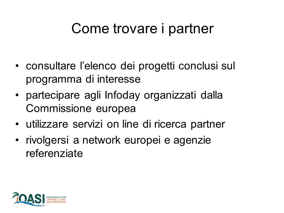 consultare l'elenco dei progetti conclusi sul programma di interesse partecipare agli Infoday organizzati dalla Commissione europea utilizzare servizi on line di ricerca partner rivolgersi a network europei e agenzie referenziate Come trovare i partner