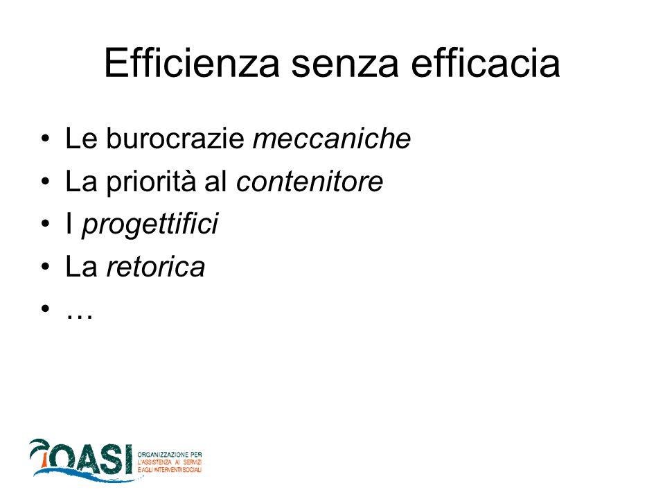 Efficienza senza efficacia Le burocrazie meccaniche La priorità al contenitore I progettifici La retorica …