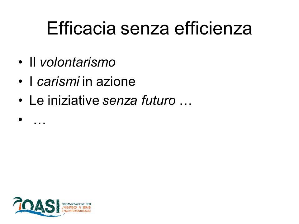 Efficacia senza efficienza Il volontarismo I carismi in azione Le iniziative senza futuro … …