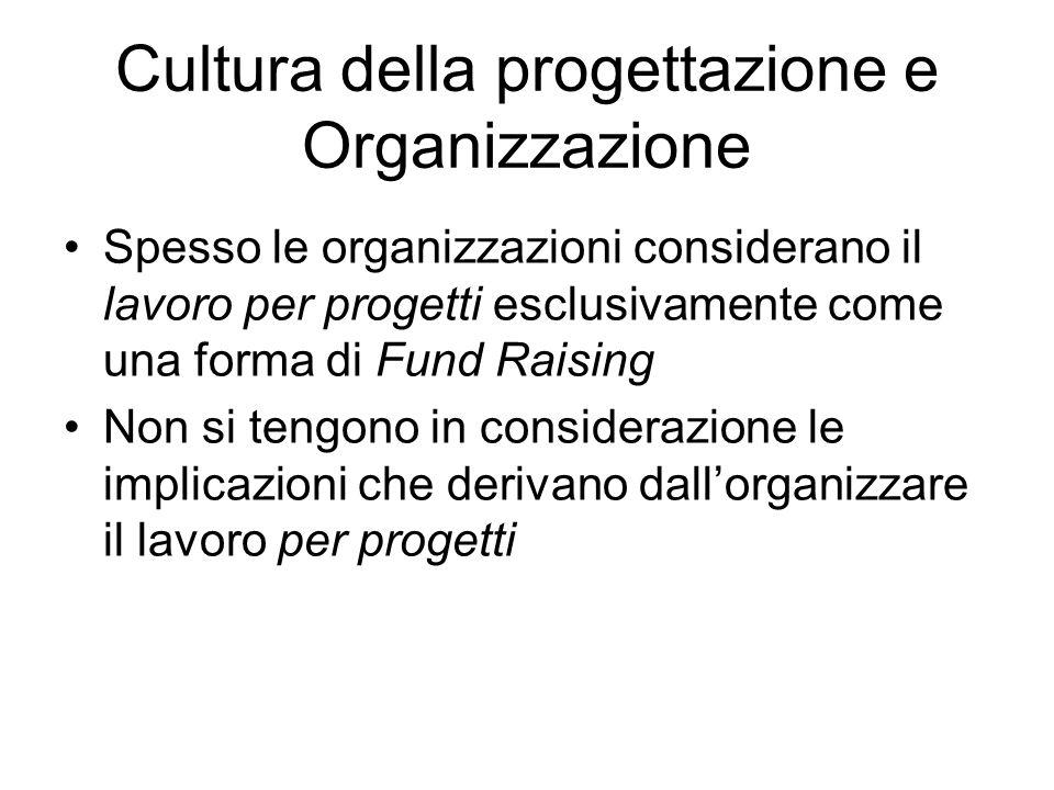Cultura della progettazione e Organizzazione Spesso le organizzazioni considerano il lavoro per progetti esclusivamente come una forma di Fund Raising