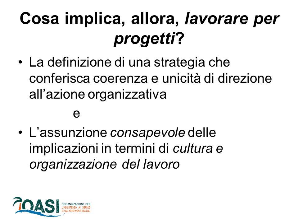 Cosa implica, allora, lavorare per progetti? La definizione di una strategia che conferisca coerenza e unicità di direzione all'azione organizzativa e