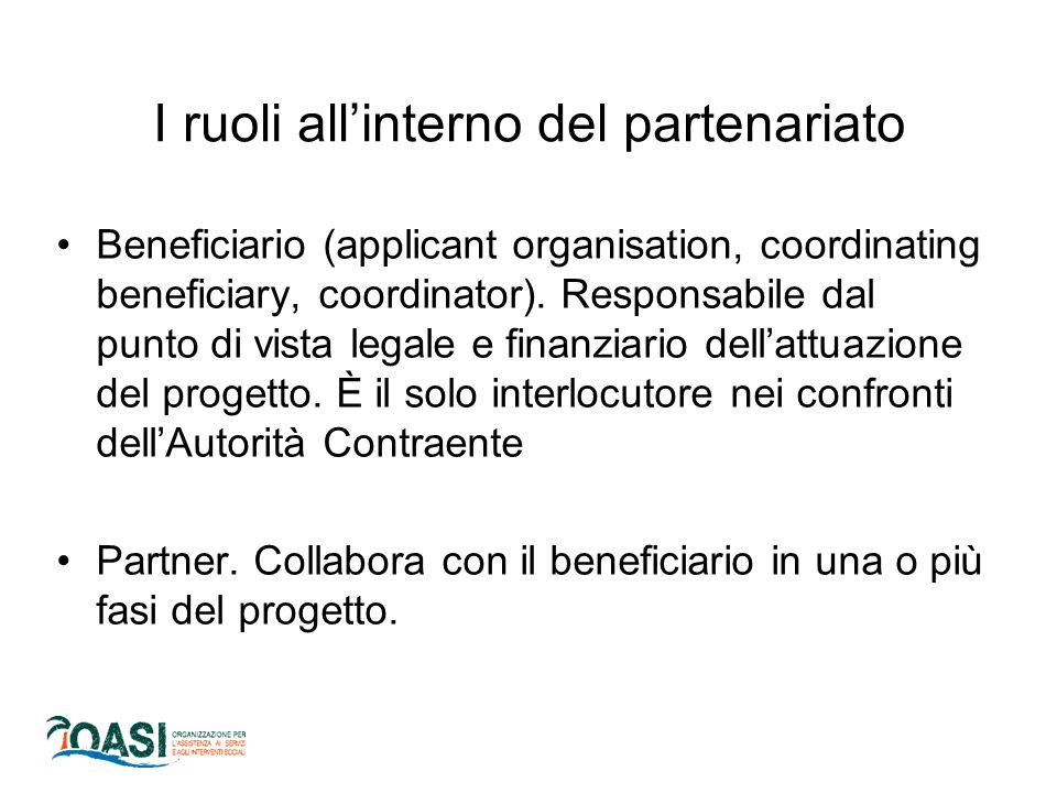 Beneficiario (applicant organisation, coordinating beneficiary, coordinator). Responsabile dal punto di vista legale e finanziario dell'attuazione del