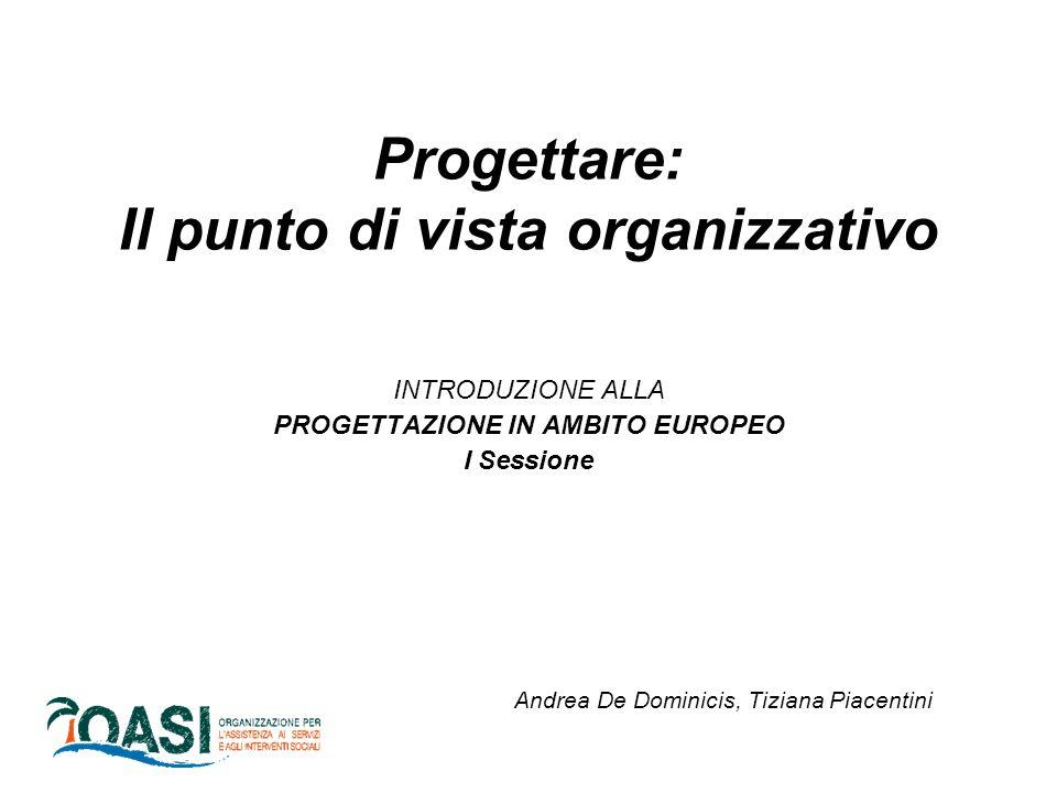 Progettare: Il punto di vista organizzativo INTRODUZIONE ALLA PROGETTAZIONE IN AMBITO EUROPEO I Sessione Andrea De Dominicis, Tiziana Piacentini