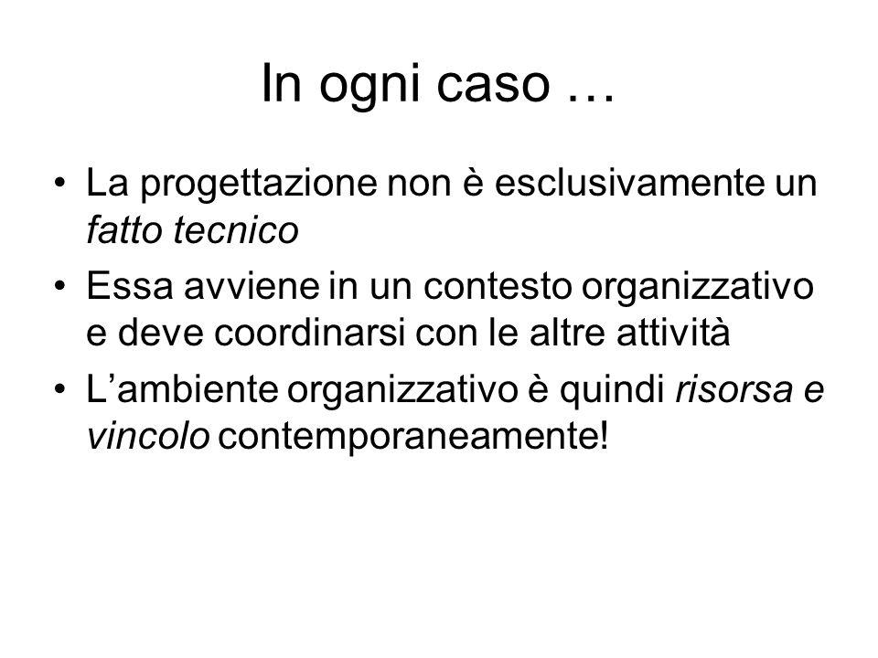 In ogni caso … La progettazione non è esclusivamente un fatto tecnico Essa avviene in un contesto organizzativo e deve coordinarsi con le altre attivi