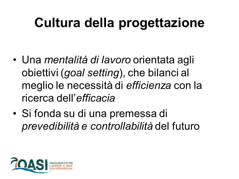 Cultura della progettazione Una mentalità di lavoro orientata agli obiettivi (goal setting), che bilanci al meglio le necessità di efficienza con la r