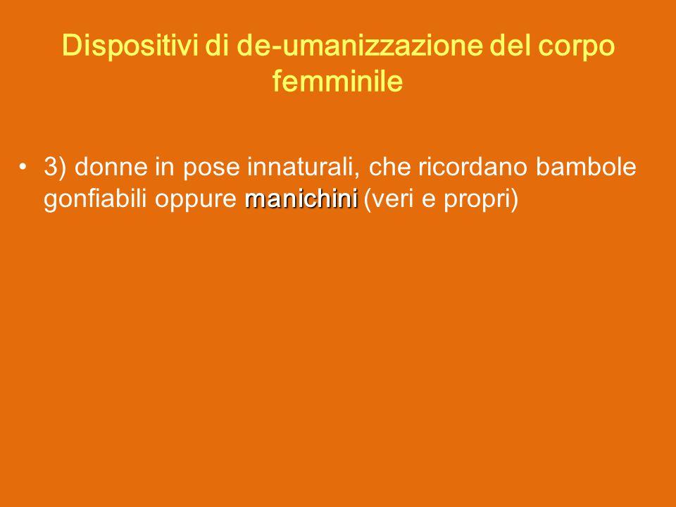 manichini 3) donne in pose innaturali, che ricordano bambole gonfiabili oppure manichini (veri e propri) Dispositivi di de-umanizzazione del corpo femminile
