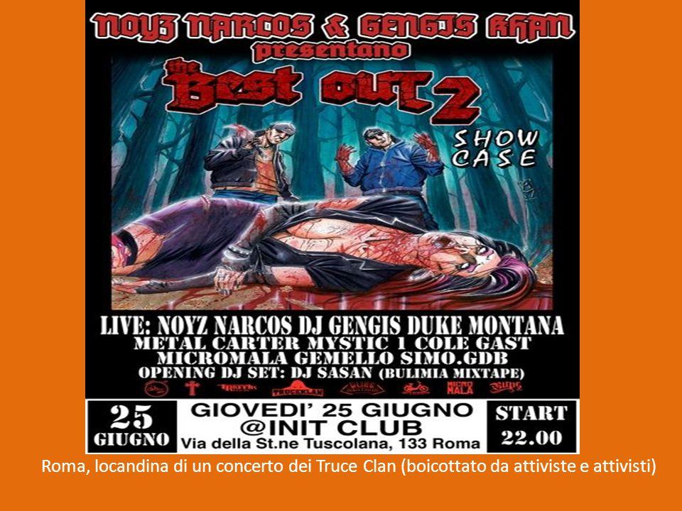 Roma, locandina di un concerto dei Truce Clan (boicottato da attiviste e attivisti)
