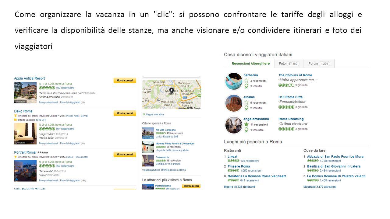 Come organizzare la vacanza in un clic : si possono confrontare le tariffe degli alloggi e verificare la disponibilità delle stanze, ma anche visionare e/o condividere itinerari e foto dei viaggiatori