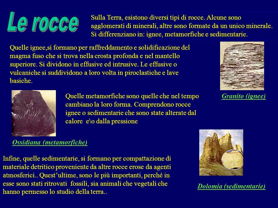Sulla Terra, esistono diversi tipi di rocce. Alcune sono agglomerati di minerali, altre sono formate da un unico minerale. Si differenziano in: ignee,