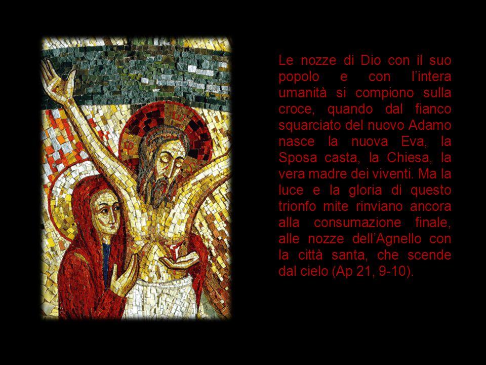 Le nozze di Dio con il suo popolo e con l'intera umanità si compiono sulla croce, quando dal fianco squarciato del nuovo Adamo nasce la nuova Eva, la