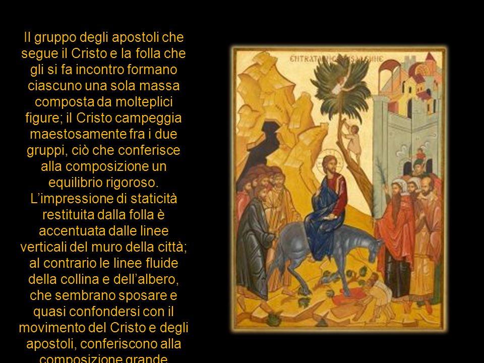 Il gruppo degli apostoli che segue il Cristo e la folla che gli si fa incontro formano ciascuno una sola massa composta da molteplici figure; il Crist