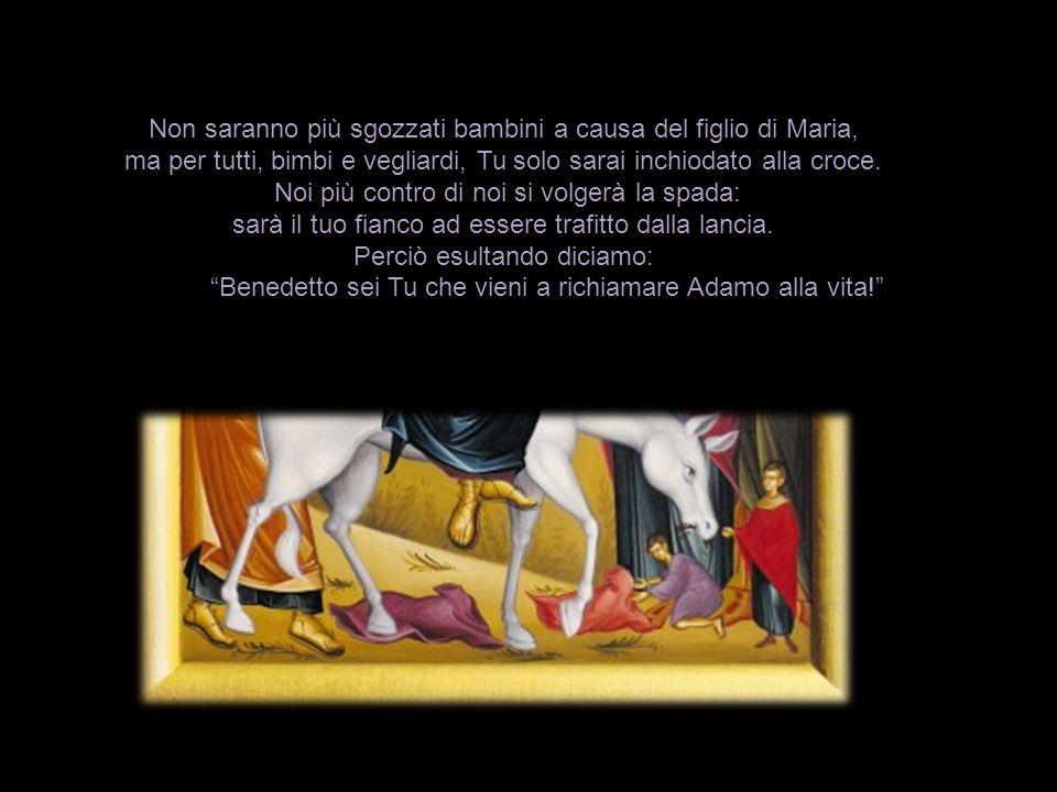 Non saranno più sgozzati bambini a causa del figlio di Maria, ma per tutti, bimbi e vegliardi, Tu solo sarai inchiodato alla croce.