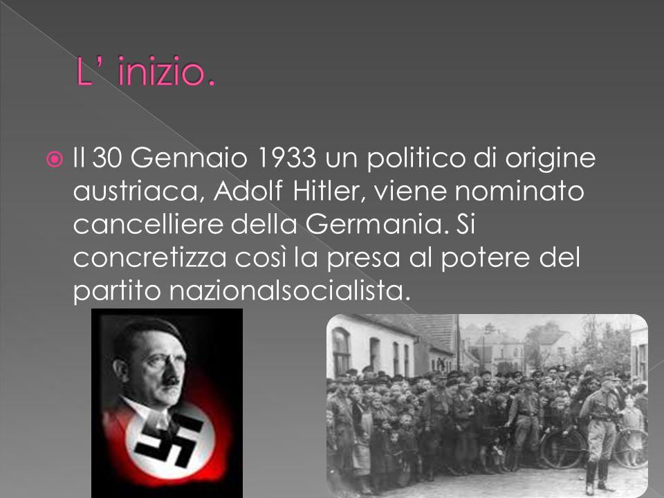 Il 30 Gennaio 1933 un politico di origine austriaca, Adolf Hitler, viene nominato cancelliere della Germania. Si concretizza così la presa al potere