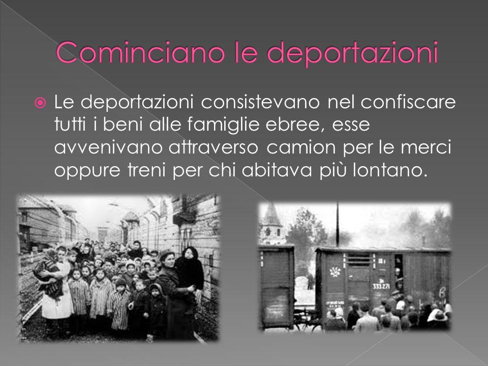  Gli ebrei deportati (le deportazioni non colpivano solo gli ebrei ma anche zingari, omosessuali, testimoni di Geova e ogni sorta di nemico politico) venivano condotti nei cosiddetti campi di lavoro, o campi di concentramento, dove venivano spogliati di tutto anche della propria dignità.