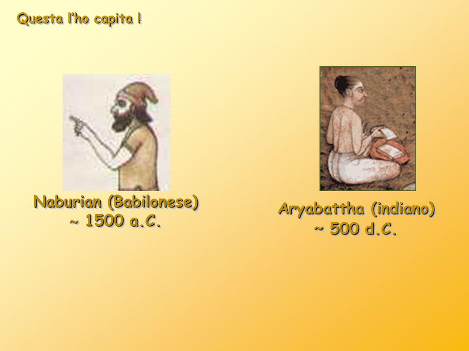 Questa l'ho capita ! Naburian (Babilonese)  1500 a.C. Naburian (Babilonese)  1500 a.C. Aryabattha (indiano) ˜ 500 d.C. Aryabattha (indiano) ˜ 500 d.