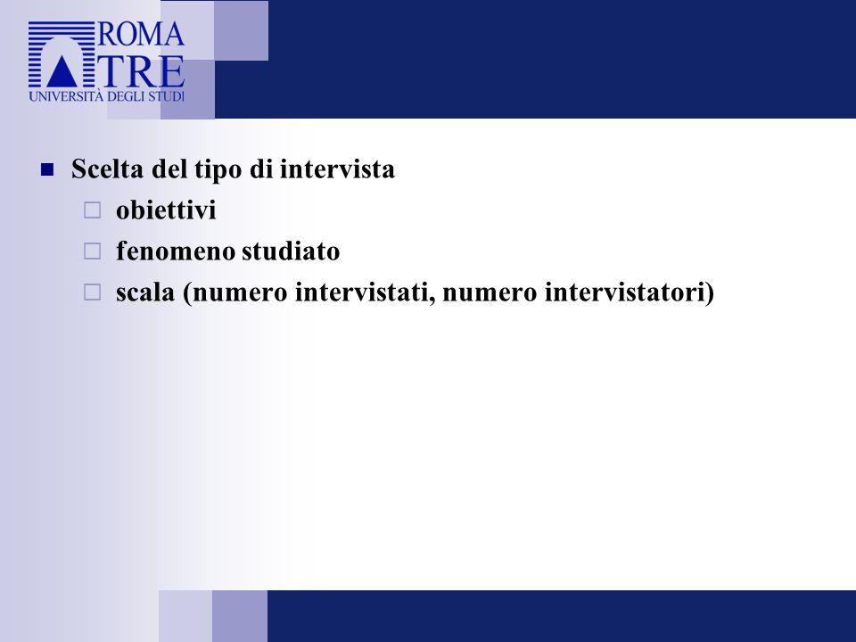 Scelta del tipo di intervista  obiettivi  fenomeno studiato  scala (numero intervistati, numero intervistatori)